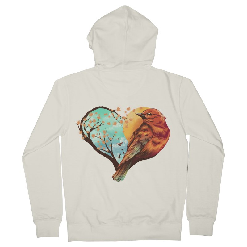 Love Bird Women's French Terry Zip-Up Hoody by dandingeroz's Artist Shop
