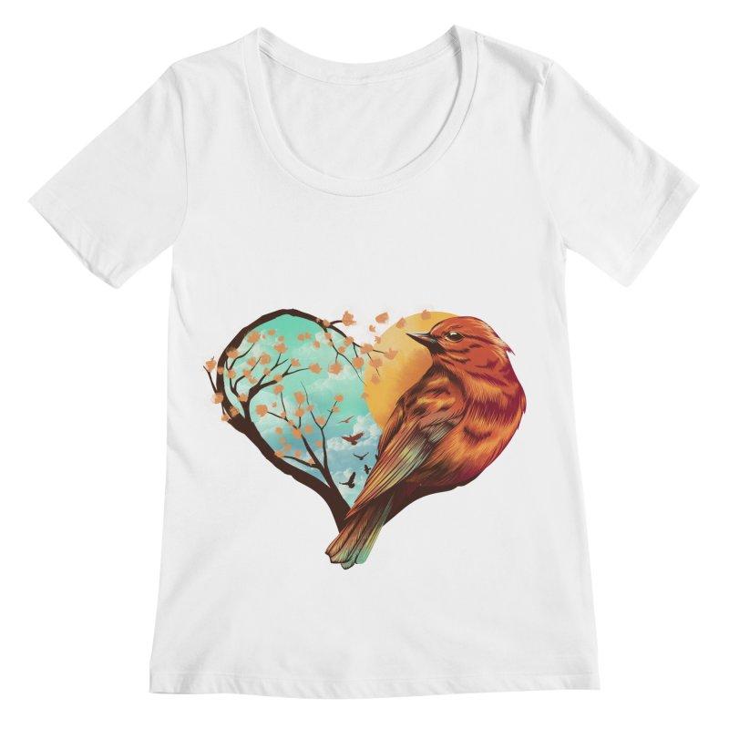 Love Bird Women's Regular Scoop Neck by dandingeroz's Artist Shop