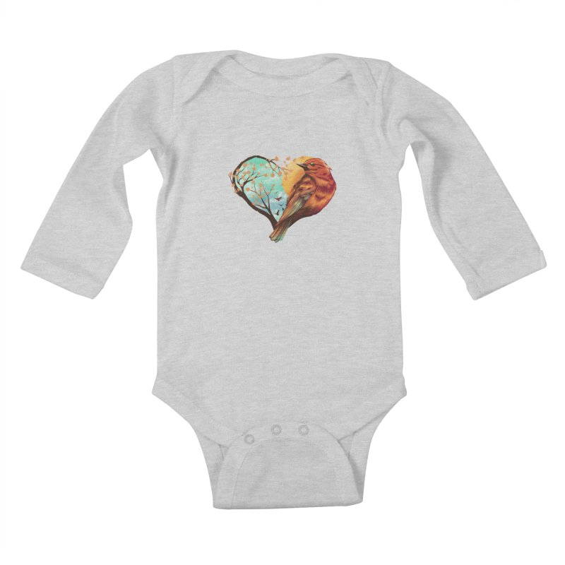 Love Bird Kids Baby Longsleeve Bodysuit by dandingeroz's Artist Shop