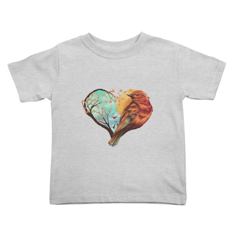 Love Bird Kids Toddler T-Shirt by dandingeroz's Artist Shop