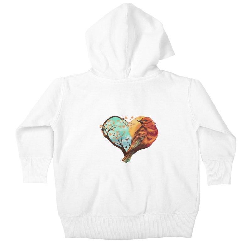Love Bird Kids Baby Zip-Up Hoody by dandingeroz's Artist Shop