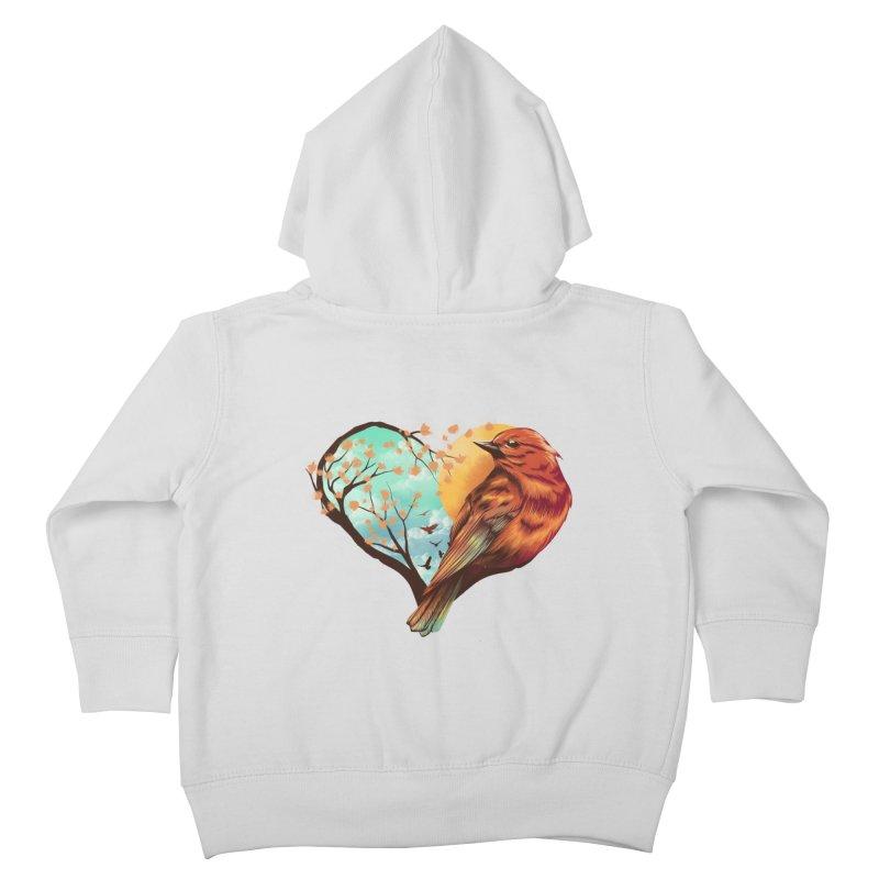 Love Bird Kids Toddler Zip-Up Hoody by dandingeroz's Artist Shop