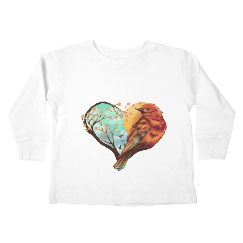 Love Bird Kids Toddler Longsleeve T-Shirt by dandingeroz's Artist Shop