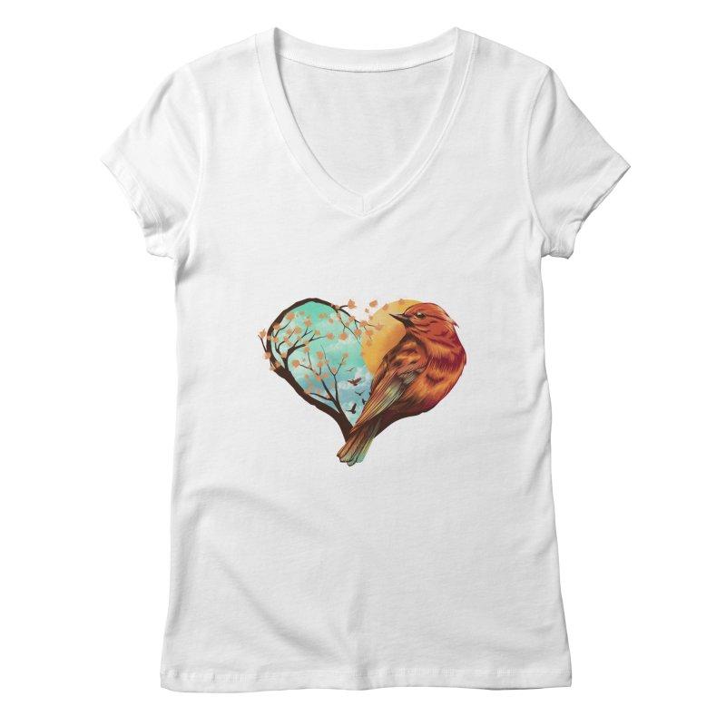 Love Bird Women's Regular V-Neck by dandingeroz's Artist Shop