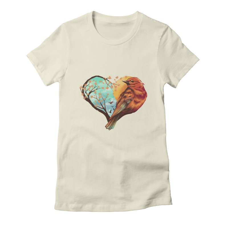 Love Bird Women's Fitted T-Shirt by dandingeroz's Artist Shop