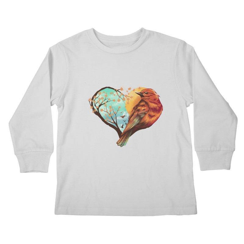 Love Bird Kids Longsleeve T-Shirt by dandingeroz's Artist Shop