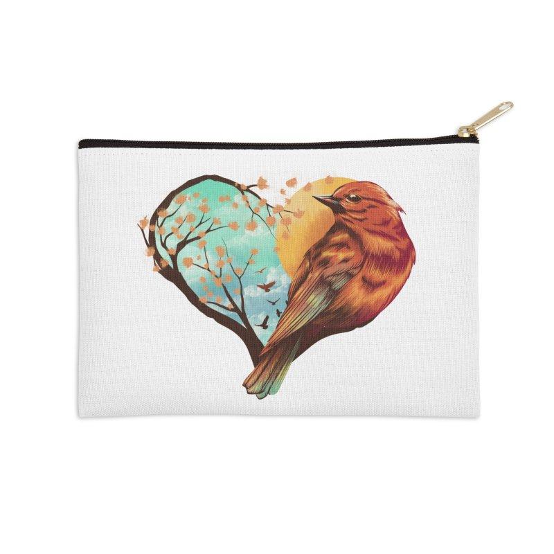 Love Bird Accessories Zip Pouch by dandingeroz's Artist Shop