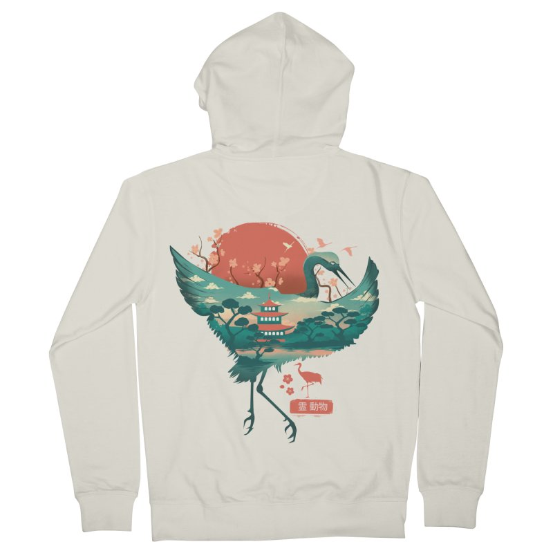 Spirit Animal Crane Women's French Terry Zip-Up Hoody by dandingeroz's Artist Shop