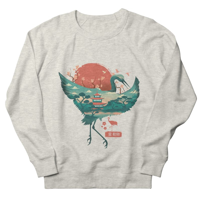 Spirit Animal Crane Men's French Terry Sweatshirt by dandingeroz's Artist Shop