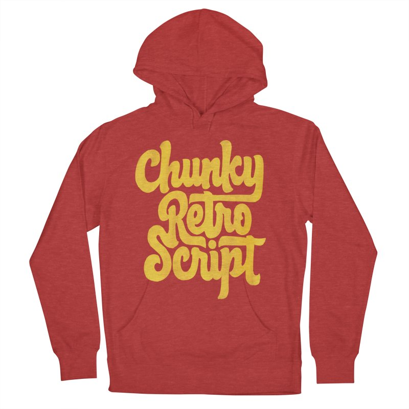 Chunky Retro Script Men's French Terry Pullover Hoody by dandrawnthreads