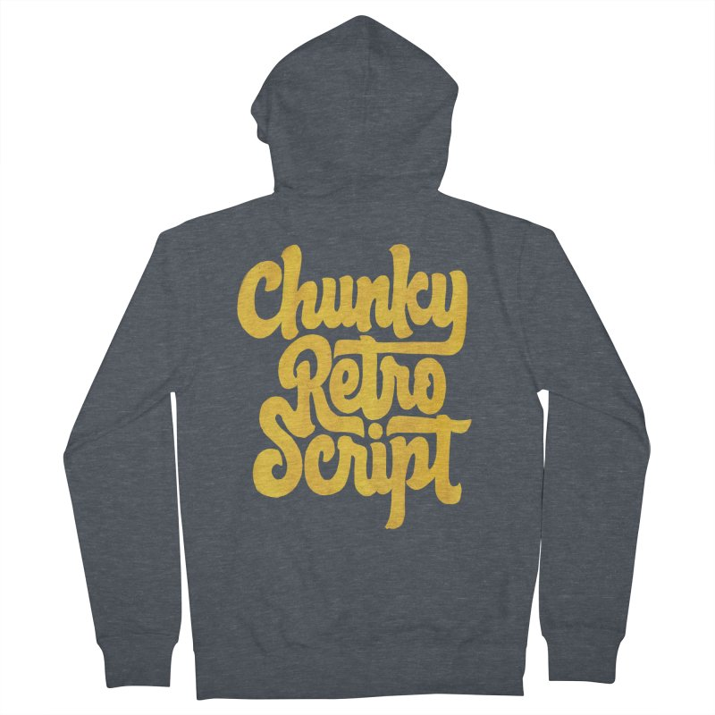 Chunky Retro Script Men's French Terry Zip-Up Hoody by dandrawnthreads