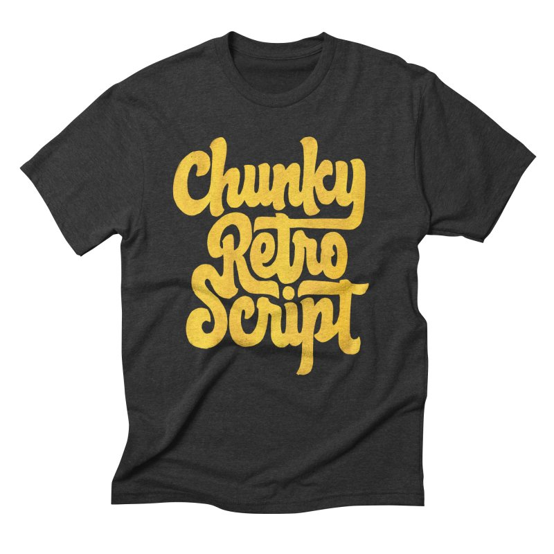Chunky Retro Script Men's Triblend T-Shirt by dandrawnthreads