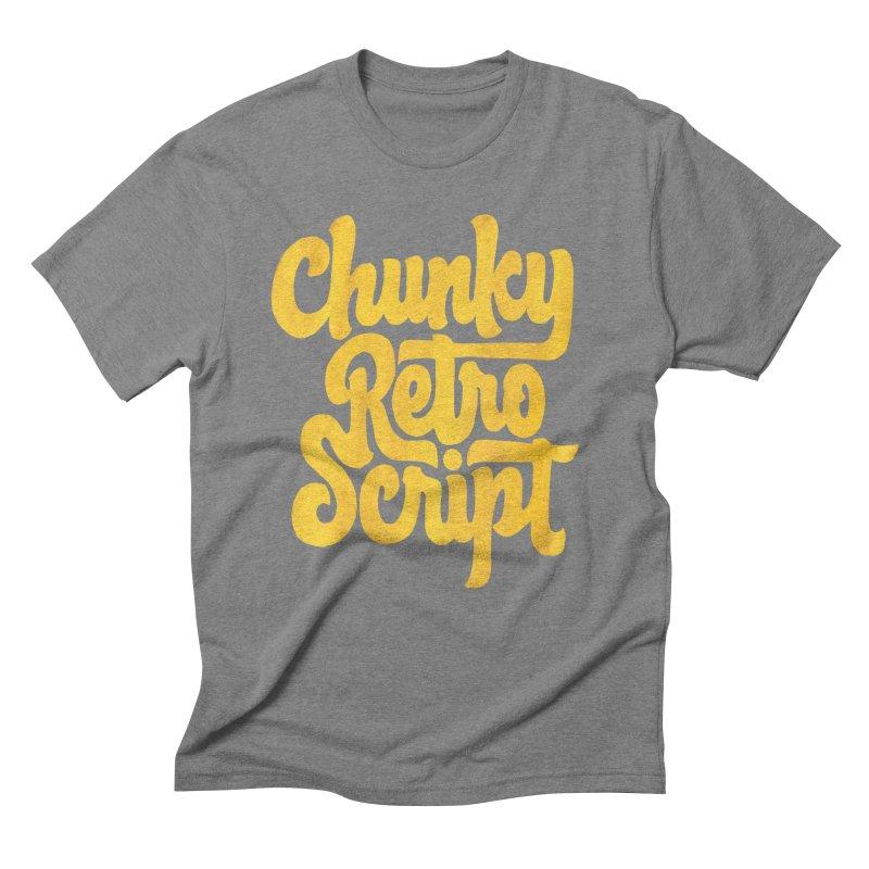 Chunky Retro Script Men's Triblend T-Shirt by dandrawnthreads