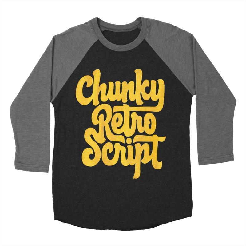 Chunky Retro Script Women's Baseball Triblend Longsleeve T-Shirt by dandrawnthreads