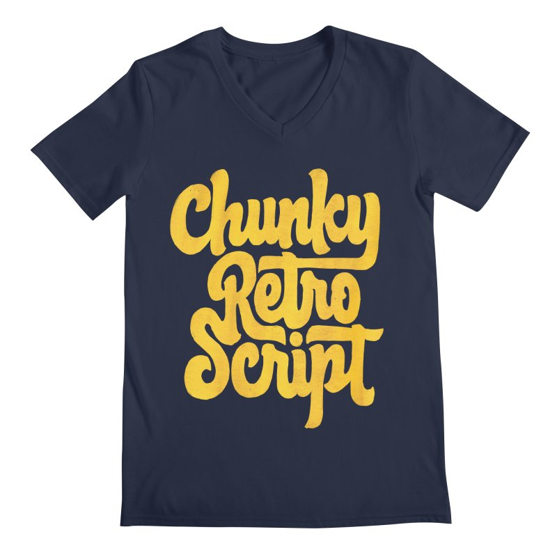 Chunky Retro Script Men's V-Neck by dandrawnthreads