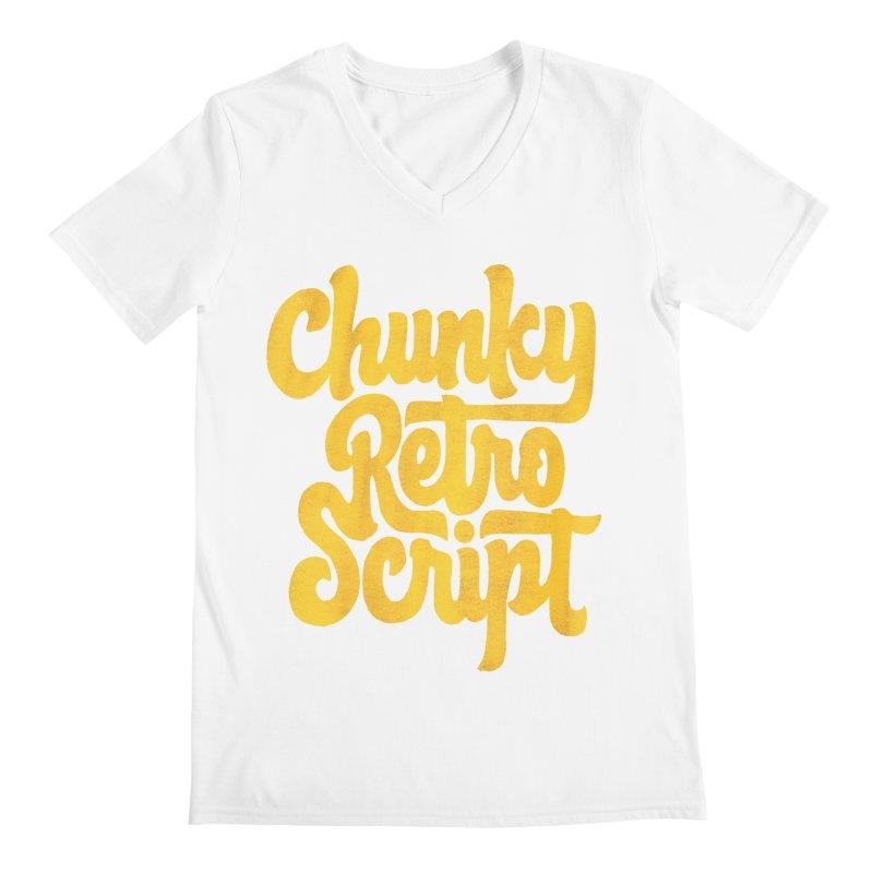 Chunky Retro Script Men's Regular V-Neck by dandrawnthreads