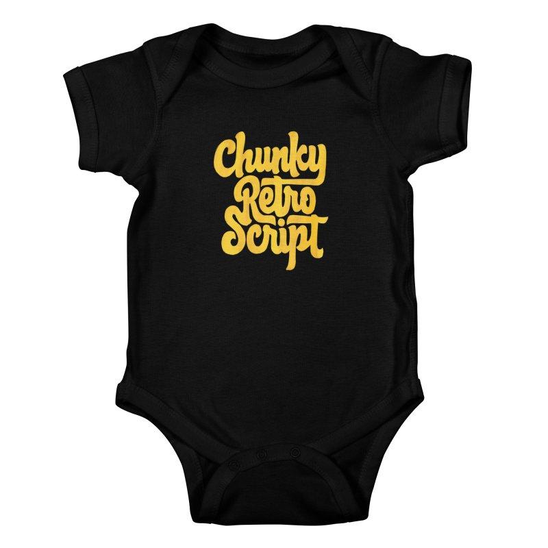 Chunky Retro Script Kids Baby Bodysuit by dandrawnthreads