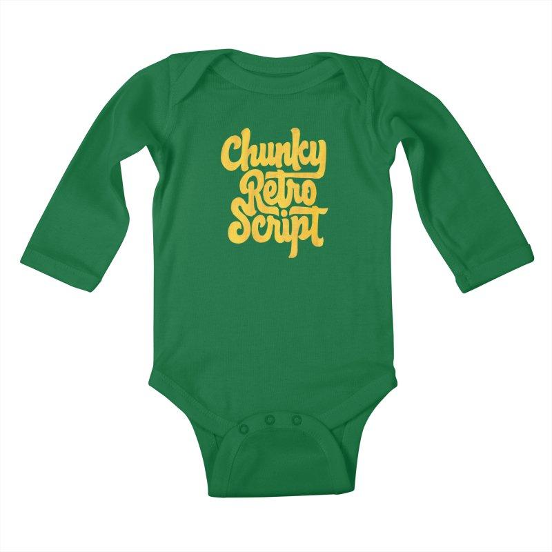 Chunky Retro Script Kids Baby Longsleeve Bodysuit by dandrawnthreads