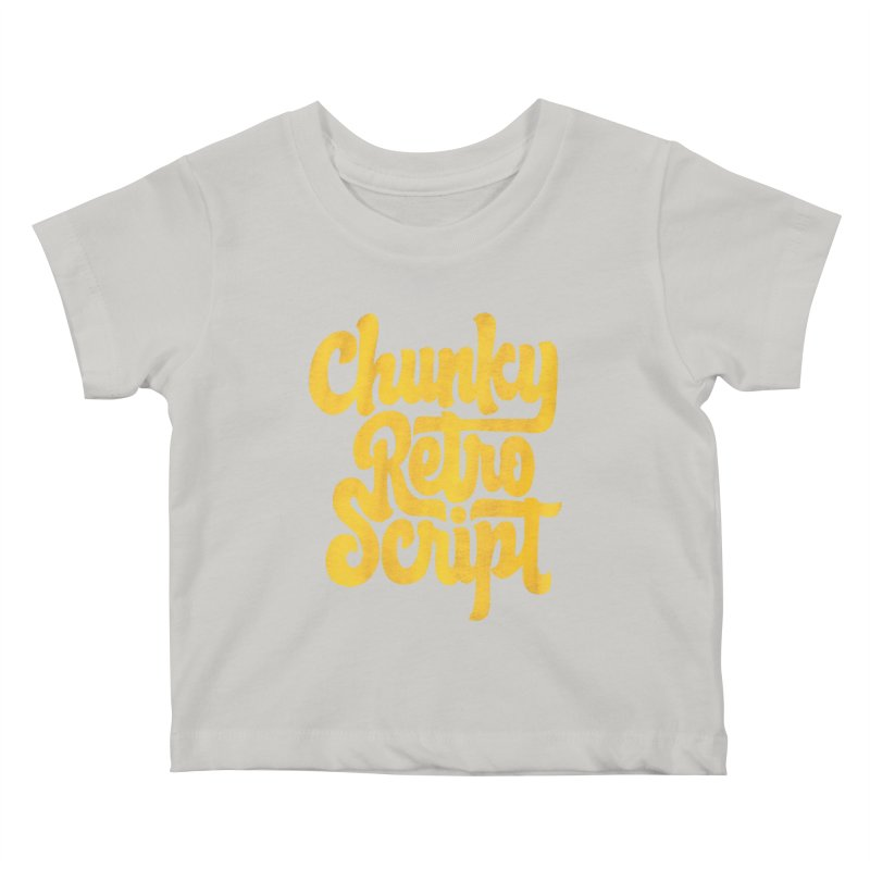 Chunky Retro Script Kids Baby T-Shirt by dandrawnthreads