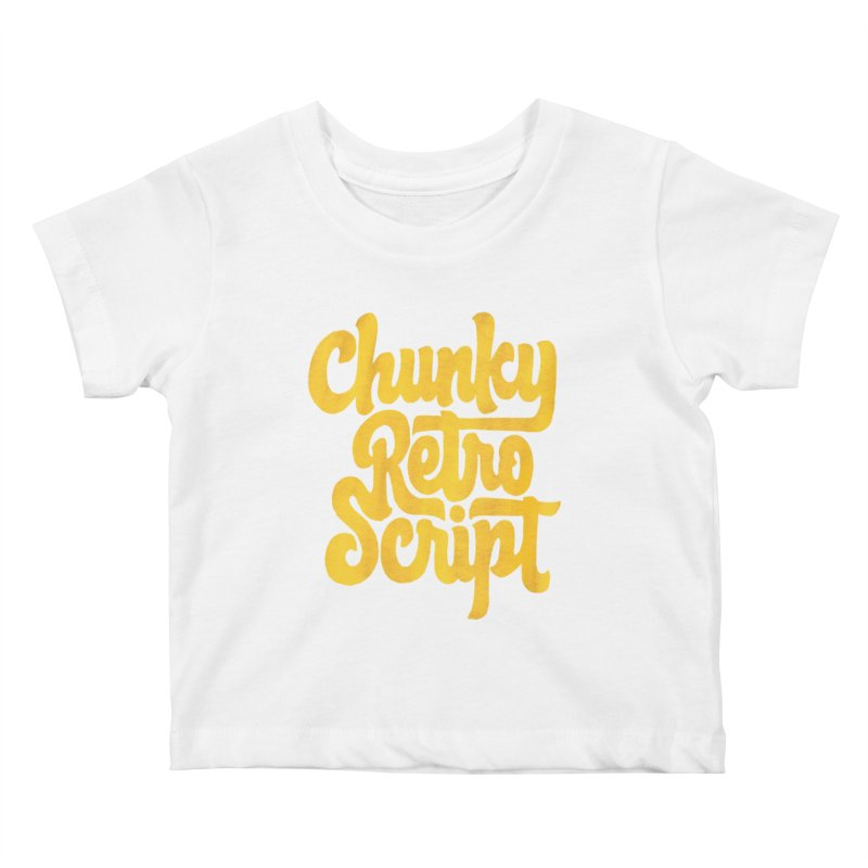 Chunky Retro Script Kids Baby T-Shirt by dandrawnthreads