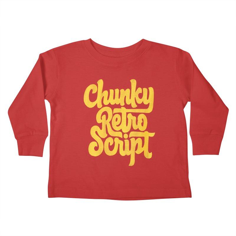 Chunky Retro Script Kids Toddler Longsleeve T-Shirt by dandrawnthreads