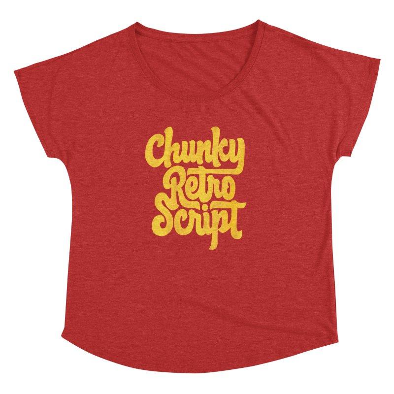 Chunky Retro Script Women's Dolman Scoop Neck by dandrawnthreads