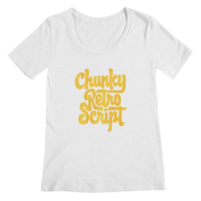 Chunky Retro Script Women's Scoopneck by dandrawnthreads