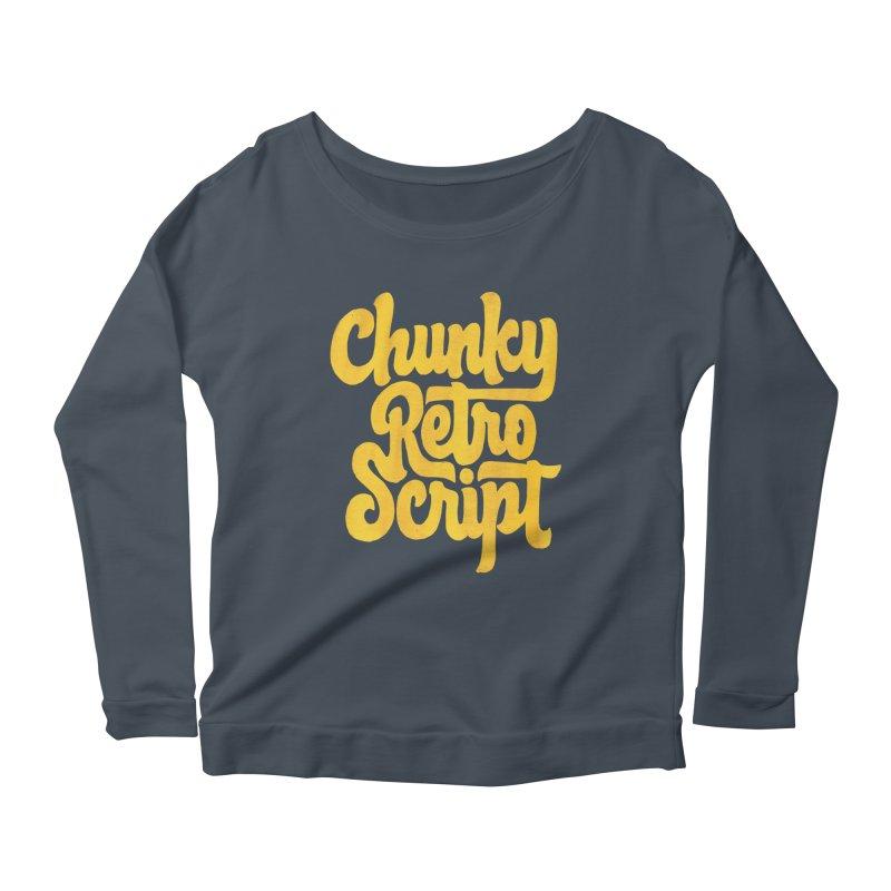 Chunky Retro Script Women's Longsleeve Scoopneck  by dandrawnthreads