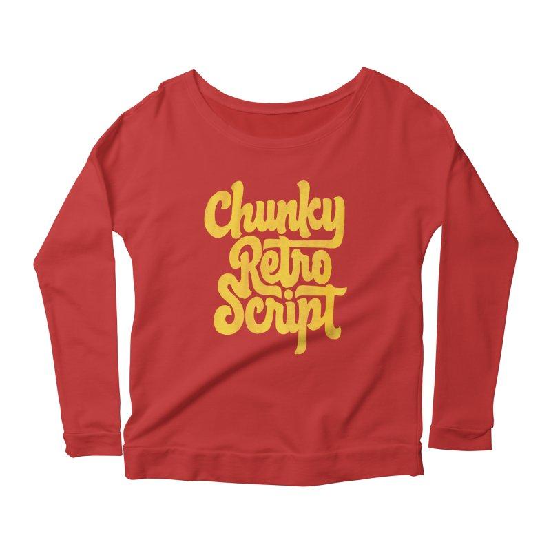 Chunky Retro Script Women's Scoop Neck Longsleeve T-Shirt by dandrawnthreads