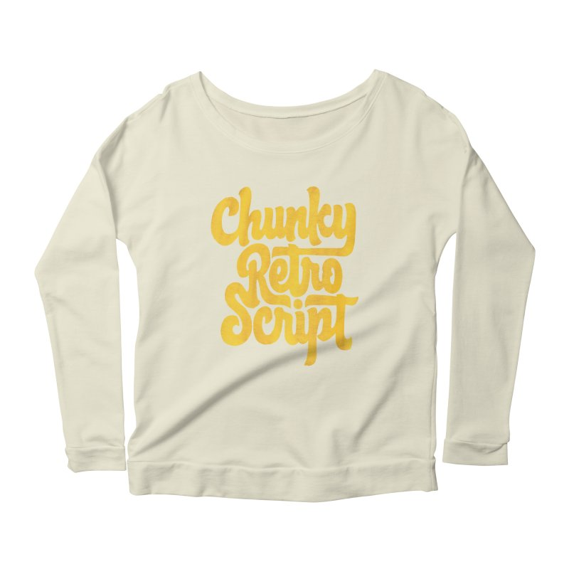 Chunky Retro Script Women's Scoop Neck Longsleeve T-Shirt by dandrawnthreads