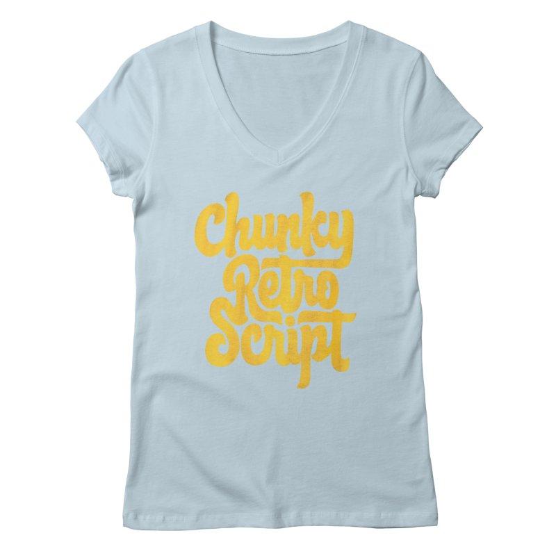 Chunky Retro Script Women's V-Neck by dandrawnthreads