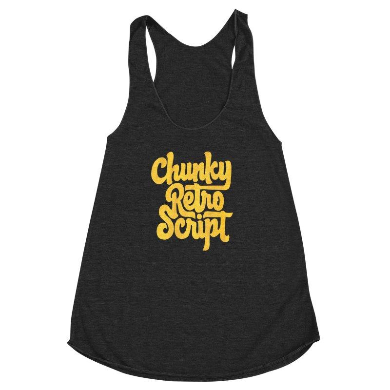 Chunky Retro Script Women's Racerback Triblend Tank by dandrawnthreads