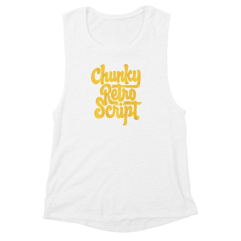 Chunky Retro Script Women's Muscle Tank by dandrawnthreads