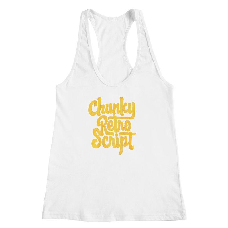 Chunky Retro Script Women's Racerback Tank by dandrawnthreads
