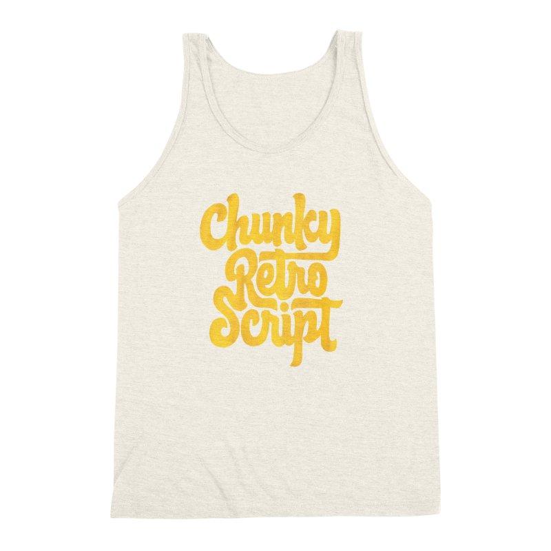 Chunky Retro Script Men's Triblend Tank by dandrawnthreads