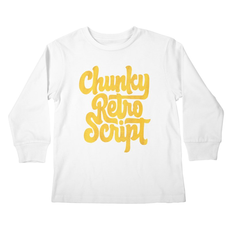 Chunky Retro Script Kids Longsleeve T-Shirt by dandrawnthreads