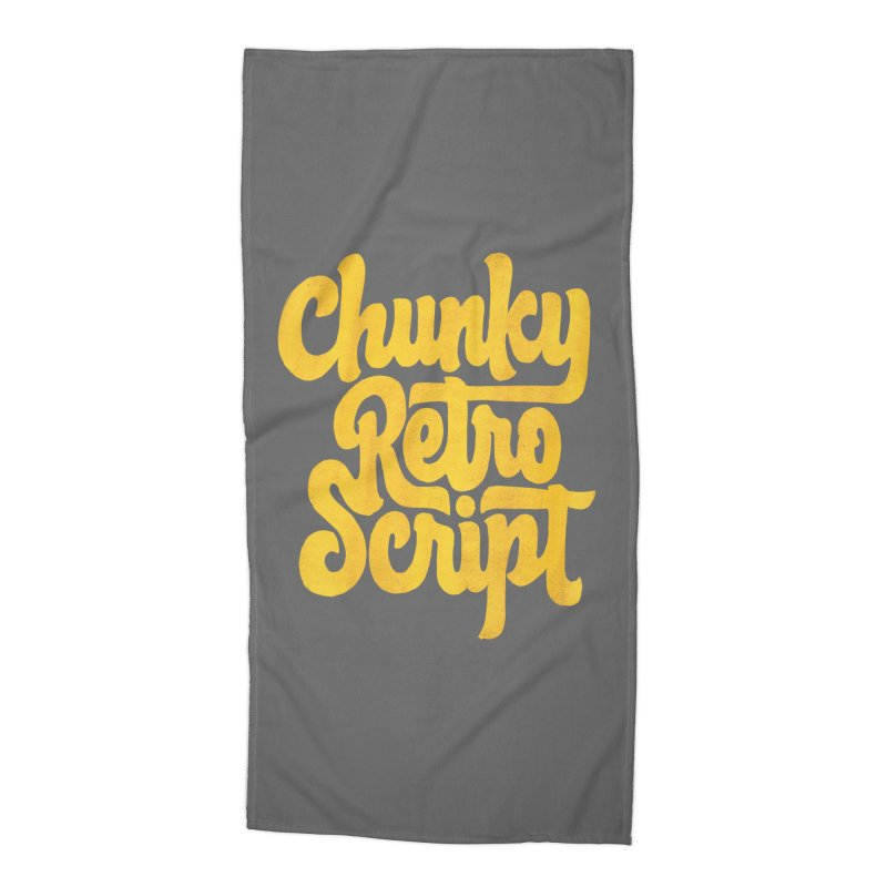 Chunky Retro Script Accessories Beach Towel by dandrawnthreads