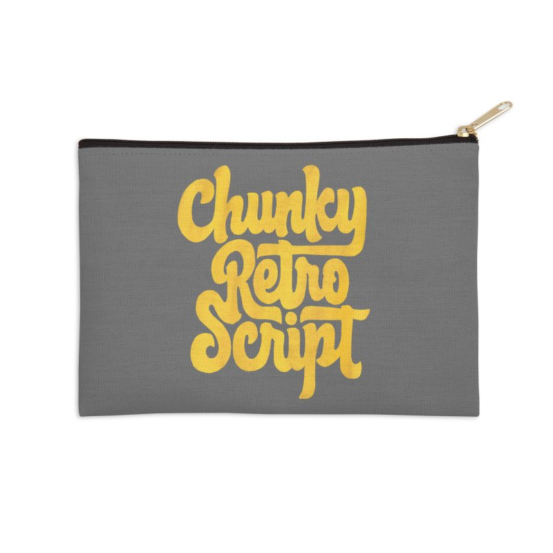 Chunky Retro Script Accessories Zip Pouch by dandrawnthreads