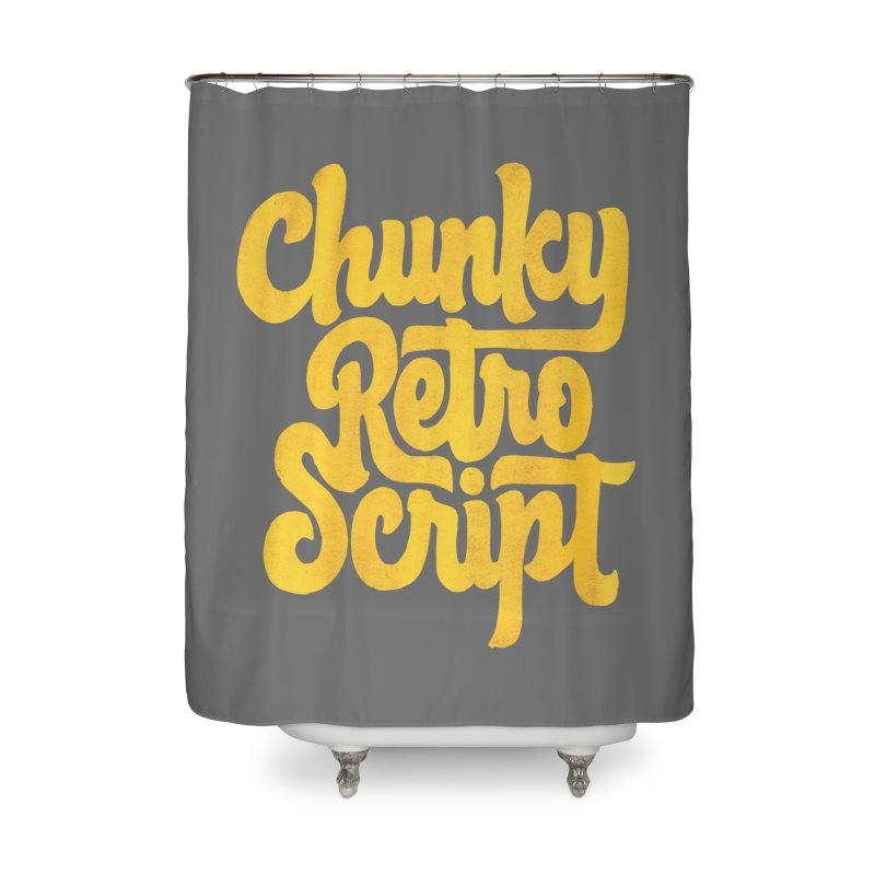 Chunky Retro Script Home Shower Curtain by dandrawnthreads