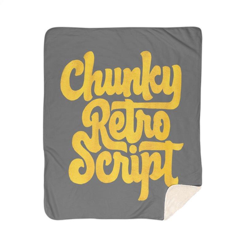 Chunky Retro Script Home Sherpa Blanket Blanket by dandrawnthreads
