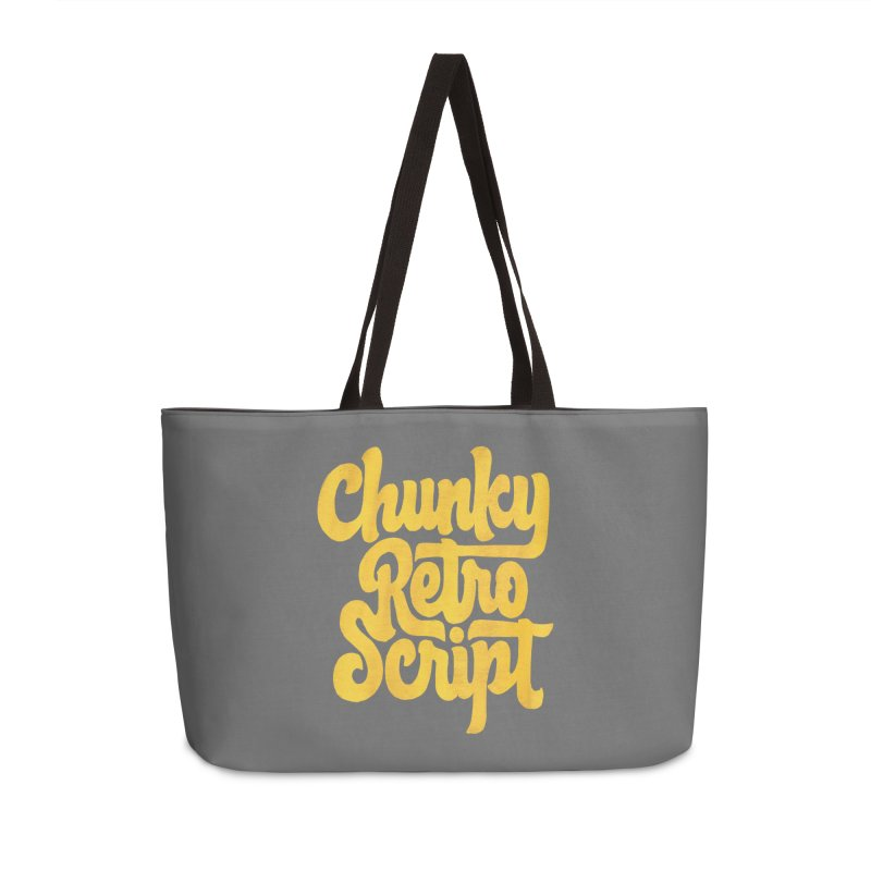 Chunky Retro Script Accessories Weekender Bag Bag by dandrawnthreads