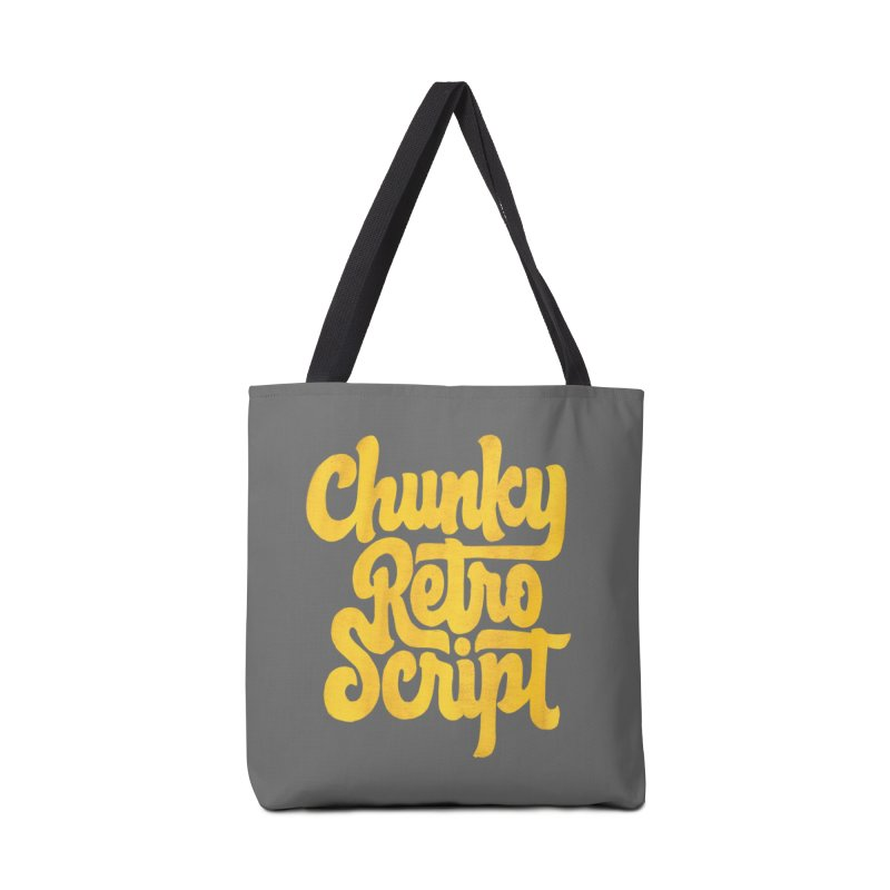 Chunky Retro Script Accessories Bag by dandrawnthreads