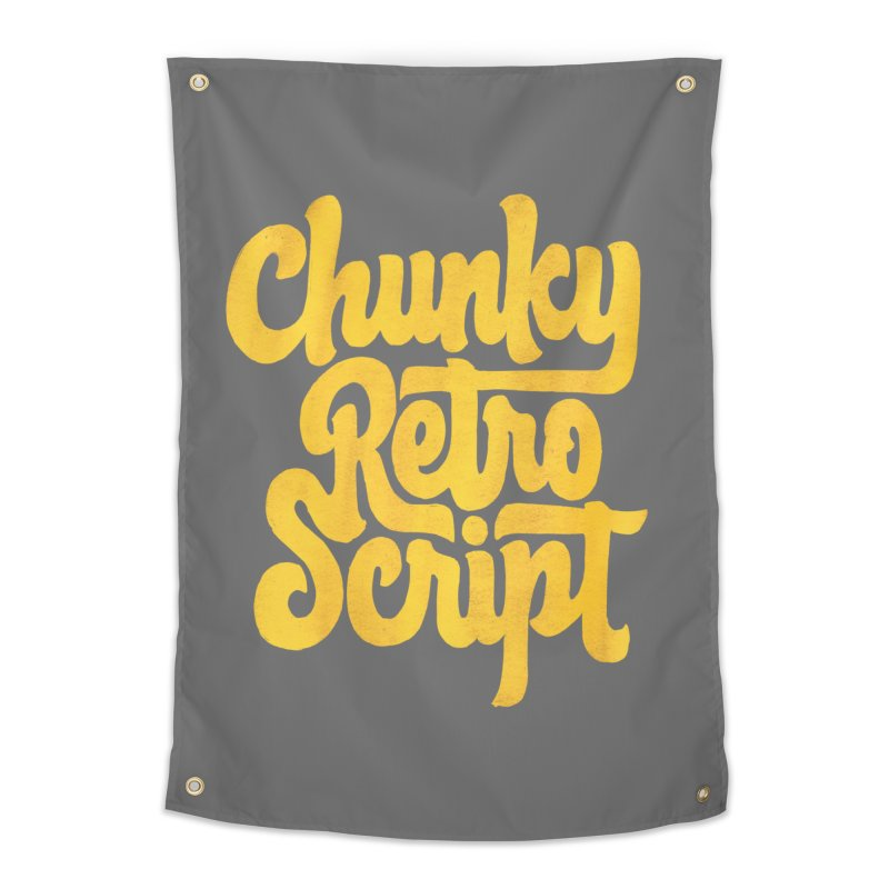 Chunky Retro Script Home Tapestry by dandrawnthreads