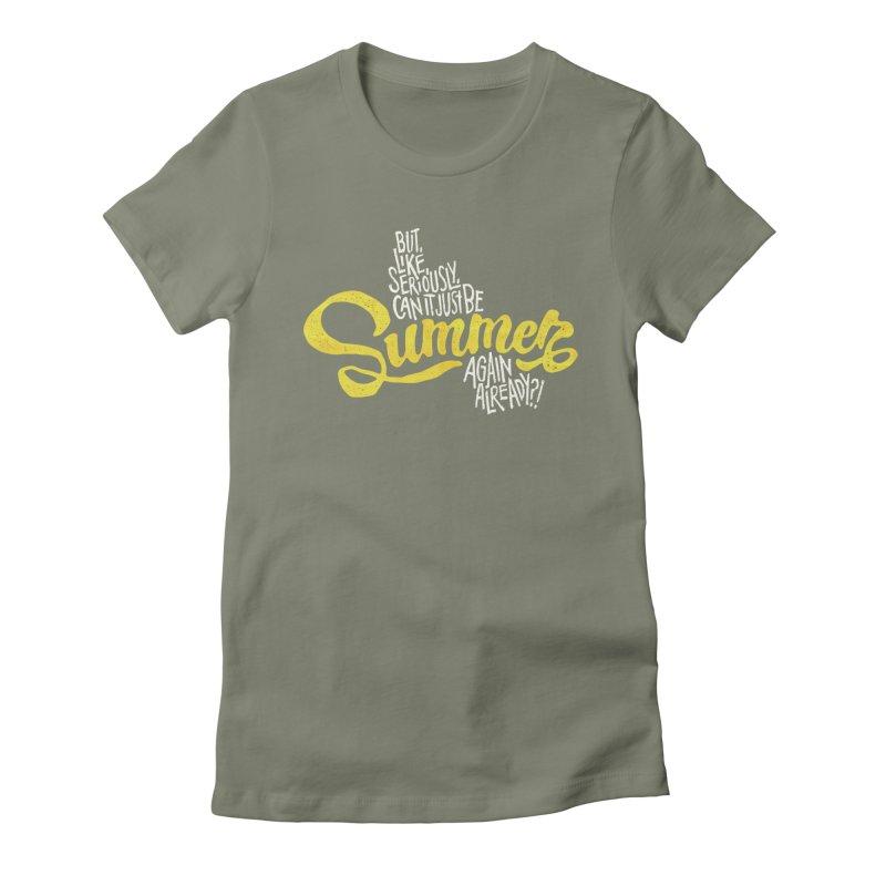 Beach Season Women's Fitted T-Shirt by dandrawnthreads