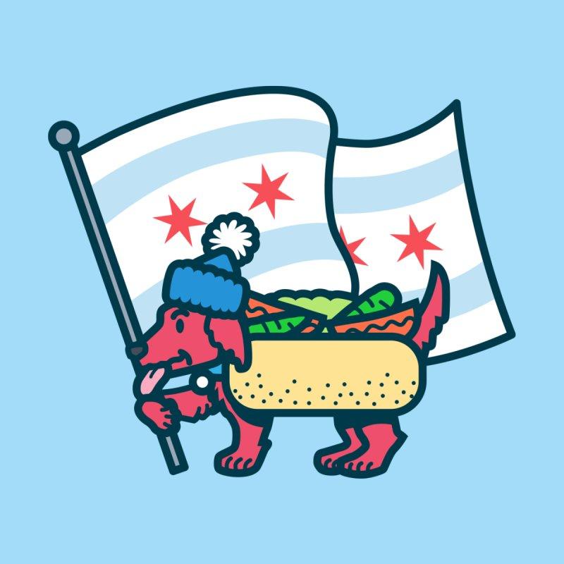 Chicago Dog with Flag Men's T-Shirt by Danger Huskie Danger Team