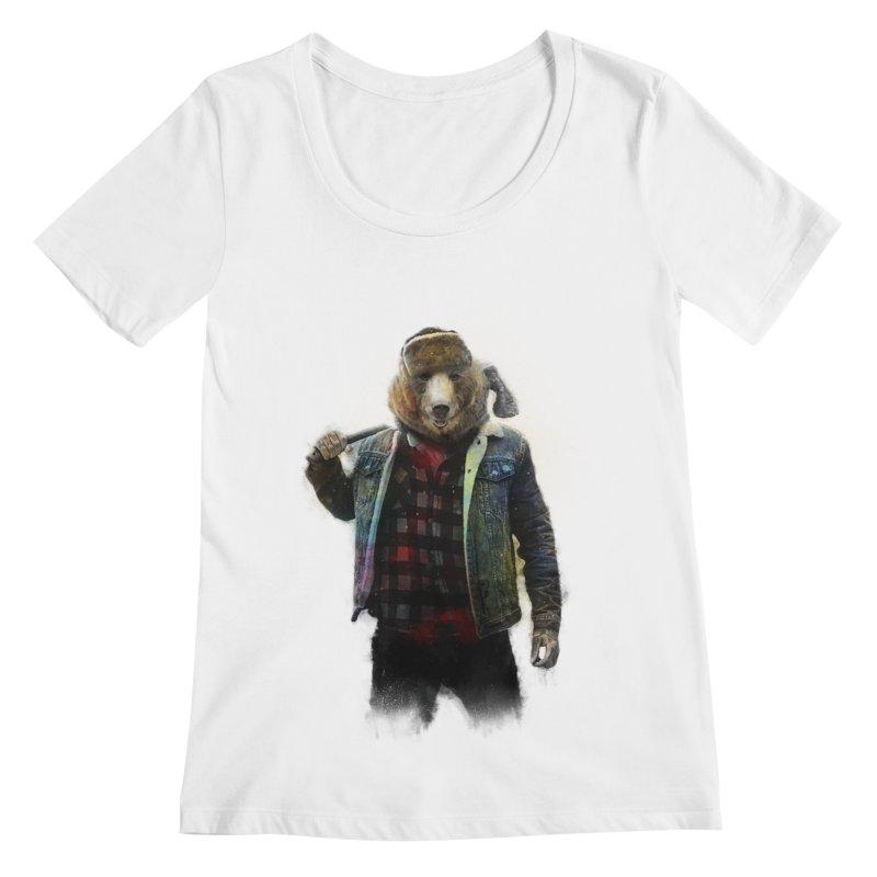 Blizzard Bear Women's Regular Scoop Neck by daniac's Artist Shop