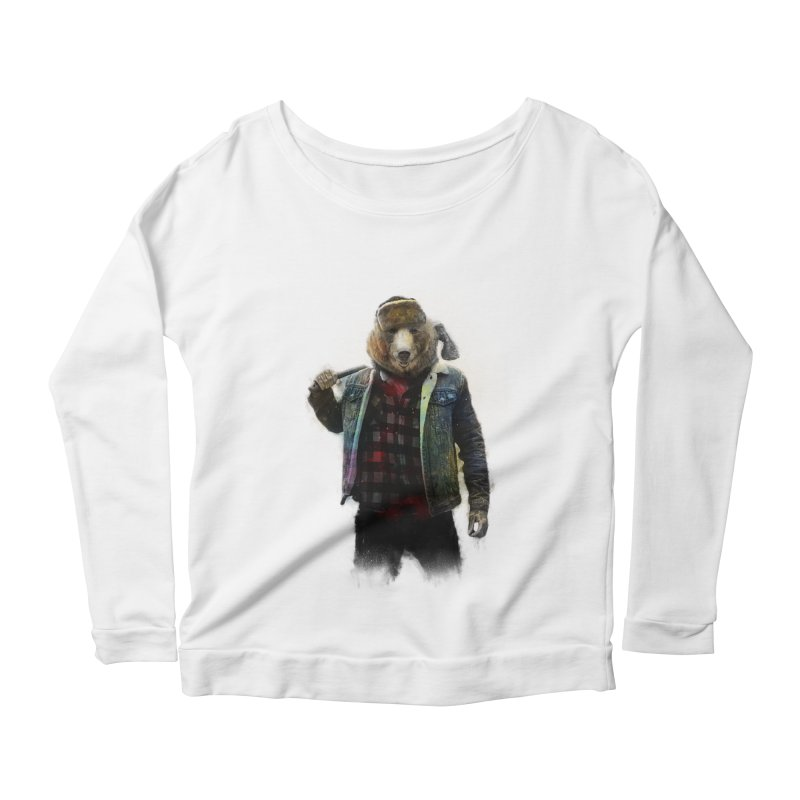 Blizzard Bear Women's Scoop Neck Longsleeve T-Shirt by daniac's Artist Shop