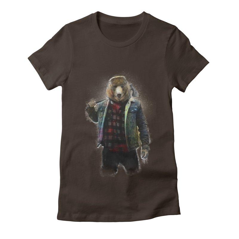 Blizzard Bear Women's Fitted T-Shirt by daniac's Artist Shop