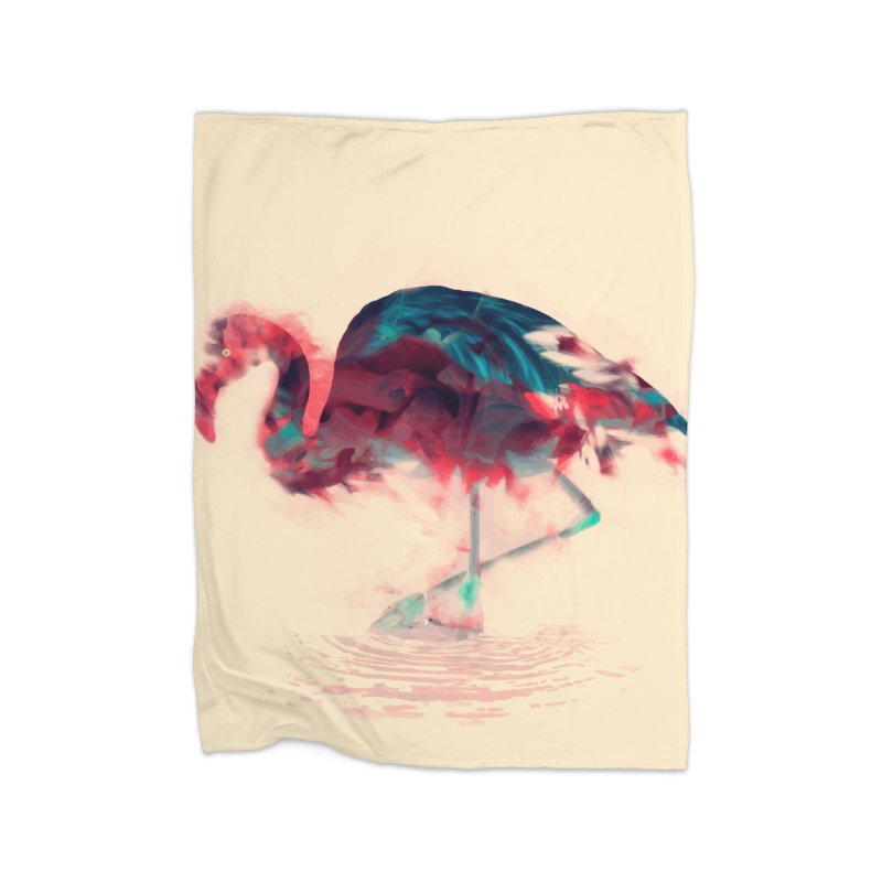 Born Flamingo Home Fleece Blanket Blanket by daniac's Artist Shop