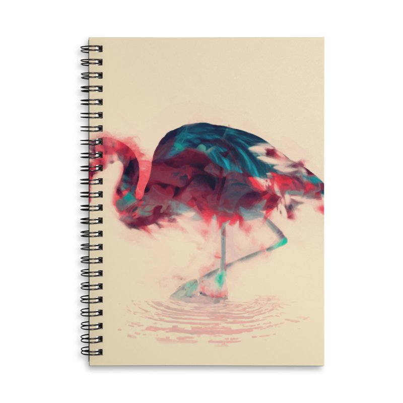 Born Flamingo Accessories Lined Spiral Notebook by daniac's Artist Shop